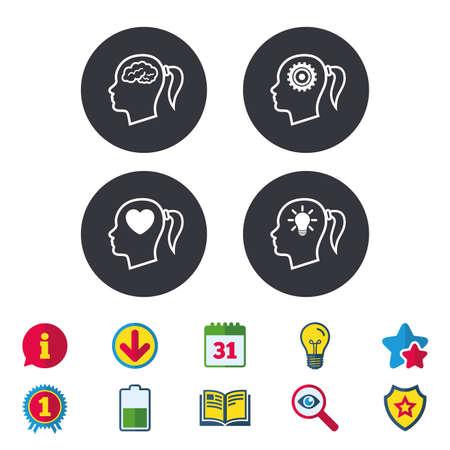 脳と考え頭ランプ電球アイコン。女性では、シンボルだと思います。歯車は歯車の兆候です。心が大好きです。カレンダー、情報およびダウンロー