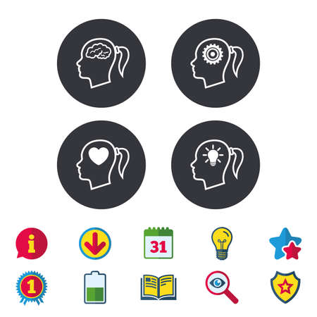 Head with brain and idea lamp bulb icons. Female woman think symbols. Cogwheel gears signs. Love heart. Calendar, Information and Download signs. Stars, Award and Book icons. Vector Illustration