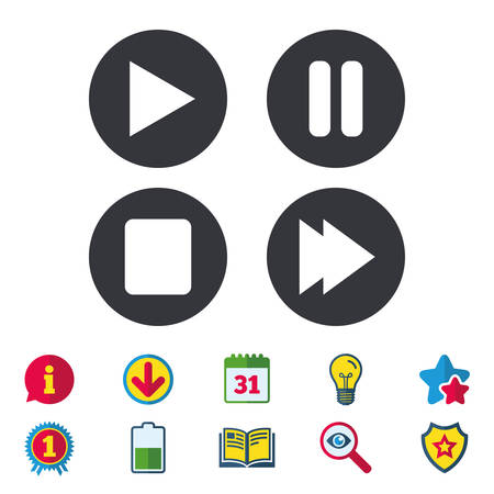 Icone di navigazione del giocatore. Gioca, ferma e metti in pausa i segni. Simbolo della canzone successiva. Calendario, informazioni e segni di download. Icone di stelle, premi e libri. Lampadina, scudo e ricerca. Vettore