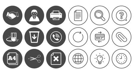 Office, documents and business icons. Printer, handshake and phone signs. Boss, recycle bin and eraser symbols. Document, Globe and Clock line signs. Lamp, Magnifier and Paper clip icons. Vector