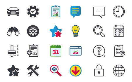 Transport icons. Car tachometer and automatic transmission symbols. Repair service tool with wheel sign. Chat, Report and Calendar signs. Stars, Statistics and Download icons. Vector