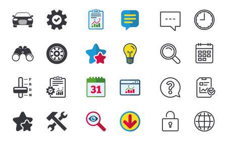 Vervoer pictogrammen. Autotachometer en symbolen voor automatische transmissie. Reparatieservicetool met wielteken. Chat-, rapport- en kalenderborden. Sterren, Statistieken en Download pictogrammen. Vector