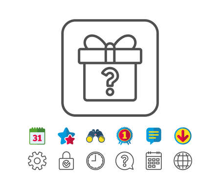 Geschenkdoos met vraagteken lijn pictogram. Aanwezig of uitverkoopbord. Verjaardag Winkelen symbool. Pakket in geschenkverpakking. Agenda-, wereldbol- en chatlijnborden. Verrekijker, Award en download pictogrammen. Bewerkbare streek