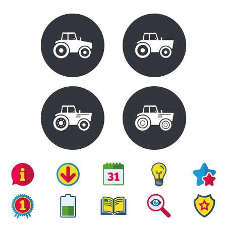 트랙터 아이콘입니다. 농업 산업 전송 기호입니다.