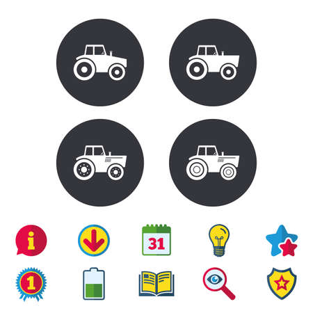 Tractor icons. Agricultural industry transport symbols. 向量圖像
