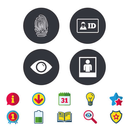Identity ID card badge icons. Eye and fingerprint symbols. Authentication signs. Photo frame with human person. Calendar, Information and Download signs. Stars, Award and Book icons. Vector Illustration