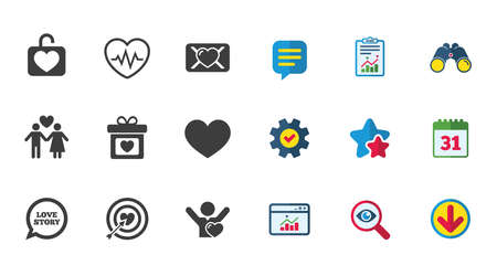 Love, valentine day icons. Target with heart, oath letter and locker symbols. Couple lovers, heartbeat signs. Calendar, Report and Download signs. Stars, Service and Search icons. Vector Illustration