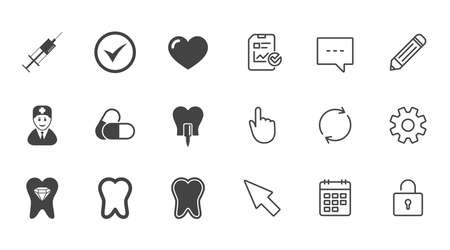 Tooth, dental care icons. Stomatology, syringe and implant signs. Healthy teeth, dentist and pills symbols. Chat, Report and Calendar line signs. Service, Pencil and Locker icons. Vector Illusztráció