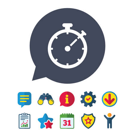 Timer sign icon. Stopwatch symbol. Information, Report and Speech bubble signs. Binoculars, Service and Download, Stars icons. Vector