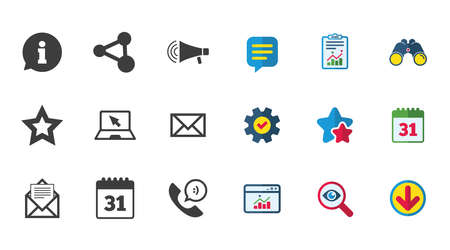 Communication icons. Contact, mail signs. E-mail, information speech bubble and calendar symbols. Calendar, Report and Download signs. Stars, Service and Search icons. Statistics, Binoculars and Chat 向量圖像