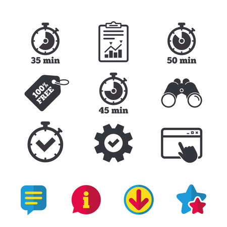 Timer icons. 35, 45 and 50 minutes stopwatch symbols. Check or Tick mark. Browser window, Report and Service signs. Binoculars, Information and Download icons. Stars and Chat. Vector Ilustração