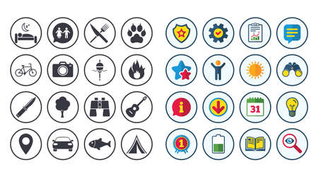 Set of Travel, Hiking and Camping icons. Fishing, Biking and WC toilet signs. Tourist tent, Food and Bed symbols. Photo and Rent a car. Calendar, Report and Book signs. Vector