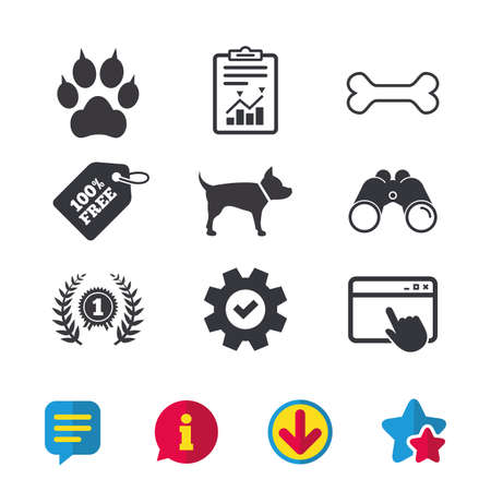 Pets icons. Cat paw with clutches sign. Winner laurel wreath and medal symbol. Pets food. Browser window, Report and Service signs. Binoculars, Information and Download icons. Stars and Chat. Vector Illustration