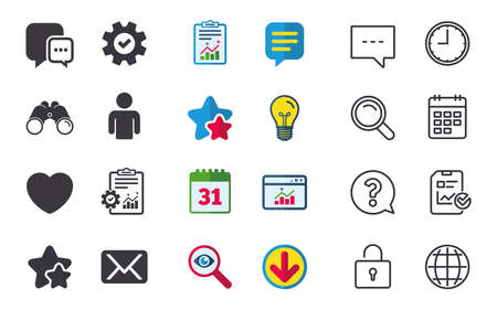 Social media icons. Chat speech bubble and Mail messages symbols. Love heart sign. Human person profile. Chat, Report and Calendar signs. Stars, Statistics and Download icons. Vector