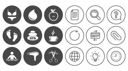 Spa, iconos de peluquería. Signo de la piscina. Lencería, tijeras y símbolos de secador de pelo. Signos de línea de documento, globo y reloj. Iconos de clip de lámpara, lupa y papel. Pregunta, tarjeta de crédito y actualización Foto de archivo - 83366148