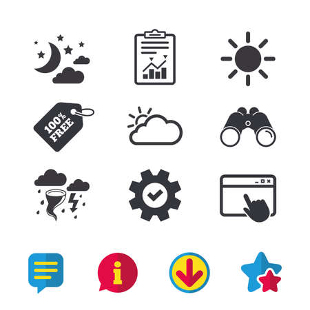 Weather icons. Moon and stars night. Cloud and sun signs. Storm or thunderstorm with lightning symbol. Browser window, Report and Service signs. Binoculars, Information and Download icons. Vector Illustration