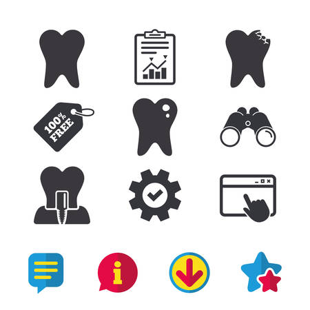 Dental care icons. Caries tooth sign. Tooth endosseous implant symbol. Browser window, Report and Service signs. Binoculars, Information and Download icons. Stars and Chat. Vector 向量圖像