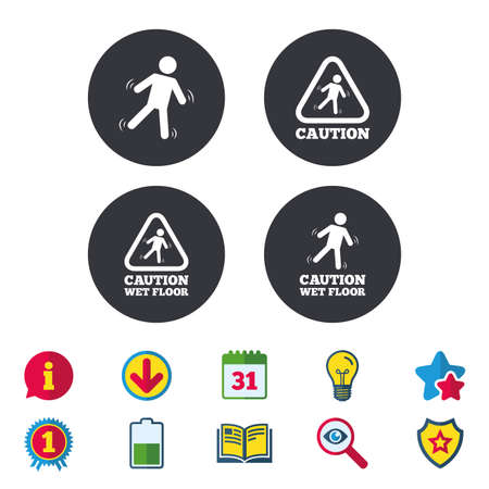Caution wet floor icons. Human falling triangle symbol. Slippery surface sign. Calendar, Information and Download signs. Stars, Award and Book icons. Light bulb, Shield and Search. Vector