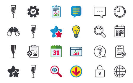 Champagne wine glasses icons. Alcohol drinks sign symbols. Sparkling wine with bubbles. Chat, Report and Calendar signs. Stars, Statistics and Download icons. Question, Clock and Globe. Vector