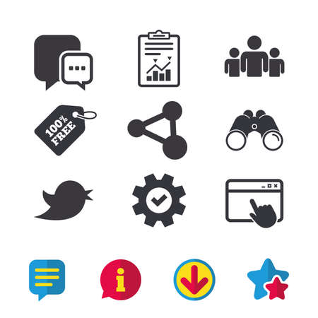 chick: Social media icons. Chat speech bubble and Bird chick symbols. Human group sign. Browser window, Report and Service signs. Binoculars, Information and Download icons. Stars and Chat. Vector