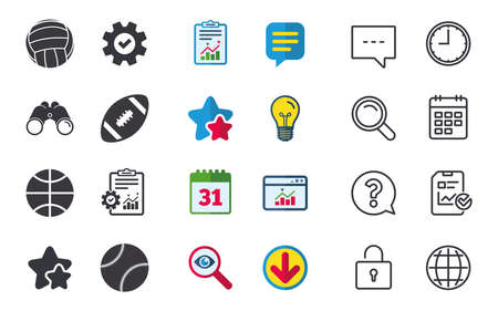 Sport balls icons. Volleyball, Basketball, Baseball and American football signs. Team sport games. Chat, Report and Calendar signs. Stars, Statistics and Download icons. Question, Clock and Globe Illustration