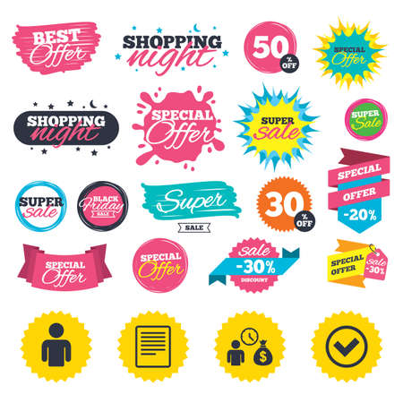 Sale shopping banners. Bank loans icons. Cash money bag symbol. Apply for credit sign. Check or Tick mark. Web badges, splash and stickers. Best offer. Vector Illustration