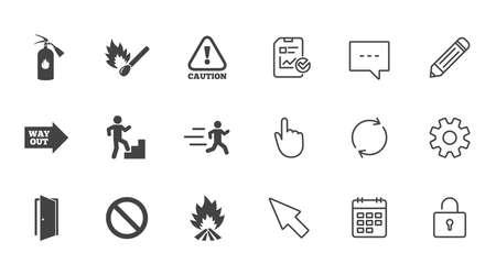 Brandveiligheid, noodpictogrammen. Brandblusser, uitgang en attentieborden. Waarschuwing, waterdruppel en uitweg symbolen. Chat, rapport en kalender lijntekens. Service-, potlood- en locker-pictogrammen. Vector Stock Illustratie