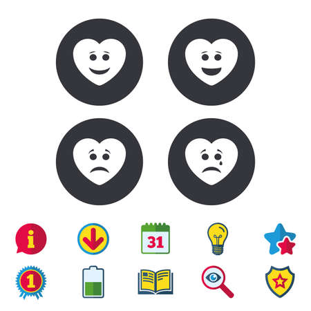 Heart smile face icons. Happy, sad, cry signs. Happy smiley chat symbol. Sadness depression and crying signs. Calendar, Information and Download signs. Stars, Award and Book icons. Vector Illusztráció