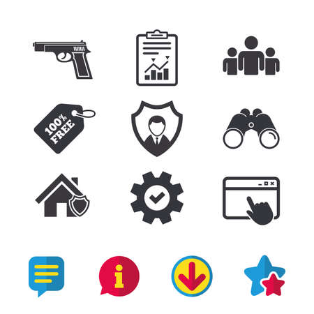 Security agency icons. Home shield protection symbols. Gun weapon sign. Group of people or Share. Browser window, Report and Service signs. Binoculars, Information and Download icons. Stars and Chat Illustration