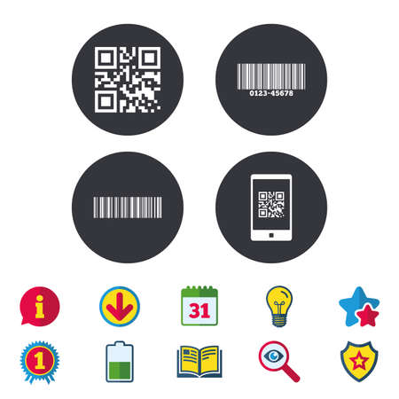 Bar and Qr code icons. Scan barcode in smartphone symbols. Calendar, Information and Download signs. Stars, Award and Book icons. Light bulb, Shield and Search. Vector