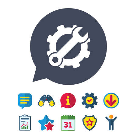 Service icon. Wrench key with cogwheel gear sign. Information, Report and Speech bubble signs. Binoculars, Service and Download, Stars icons. Vector Stock Vector - 83366268