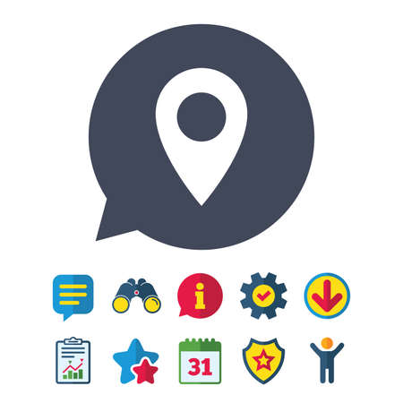 Map pointer icon. GPS location symbol. Information, Report and Speech bubble signs. Binoculars, Service and Download, Stars icons. Vector Ilustracja