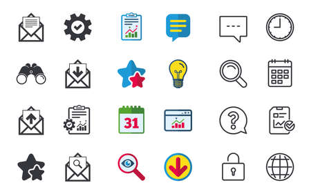 webmail: Mail envelope icons. Find message document symbol. Post office letter signs. Inbox and outbox message icons. Chat, Report and Calendar signs. Stars, Statistics and Download icons. Vector