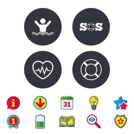 조난 신호 lifebuoy 아이콘입니다. 박동 cardiogram 기호입니다. 수영 흔적. 남자가 익사합니다. 달력, 정보 및 다운로드 표지판. 별, 보너스 및 도서 아이콘.