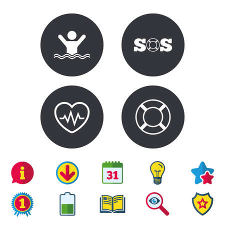 SOS lifebuoy icon. Heartbeat cardiogram symbol. Swimming sign. Man drowns. Calendar, Information and Download signs. Stars, Award and Book icons. Light bulb, Shield and Search. Vector Çizim