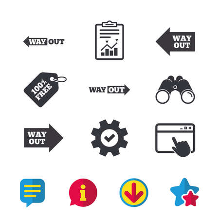 Way out icons. Left and right arrows symbols. Direction signs in the subway. Browser window, Report and Service signs. Binoculars, Information and Download icons. Stars and Chat. Vector Imagens - 83366320