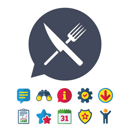Food sign icon. Cutlery symbol. Knife and fork. Information, Report and Speech bubble signs. Binoculars, Service and Download, Stars icons. Vector