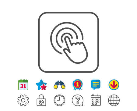 Hand Click line icon. Finger touch sign. Cursor pointer symbol. Calendar, Globe and Chat line signs. Binoculars, Award and Download icons. Editable stroke. Vector Ilustração