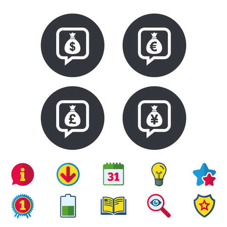 Money bag icons. Dollar, Euro, Pound and Yen speech bubbles symbols. USD, EUR, GBP and JPY currency signs. Calendar, Information and Download signs. Stars, Award and Book icons. Vector