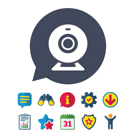 Webcam sign icon. Web video chat symbol. Camera chat. Information, Report and Speech bubble signs. Binoculars, Service and Download, Stars icons. Vector Illustration