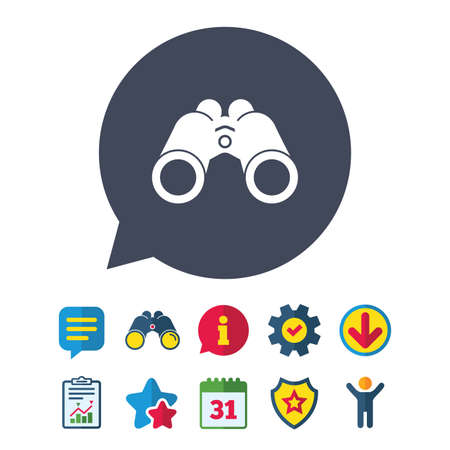 Binoculars icon. Find software sign. Spy equipment symbol. Information, Report and Speech bubble signs. Binoculars, Service and Download, Stars icons. Vector Imagens - 83366334