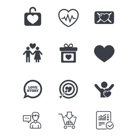 Liebe, Valentinstag Symbole. Ziel mit Herz-, Eidbrief- und Schließfachsymbolen. Paarliebhaber, Herzschlagzeichen. Kundendienst, Einkaufswagen und Berichtslinie Zeichen. Online-Shopping und Statistik Standard-Bild - 83366598
