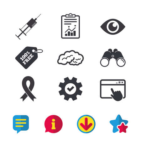 Medicine icons. Syringe, eye, brain and ribbon signs. Breast cancer awareness symbol. Human intelligent smart mind. Browser window, Report and Service signs. Binoculars, Information and Download icons