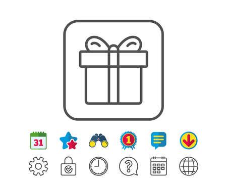 Cadeau doos lijn icoon. Present of Verkoop teken. Verjaardag Winkelsymbool. Pakket in Cadeau Wrap. Kalender, Globe en Chat lijntekens. Verrekijkers, Award en Download iconen. Bewerkbare slag. Vector Stockfoto - 83366623