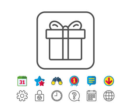 Gift box line icon. Present or Sale sign. Birthday Shopping symbol. Package in Gift Wrap. Calendar, Globe and Chat line signs. Binoculars, Award and Download icons. Editable stroke. Vector Zdjęcie Seryjne - 83366623