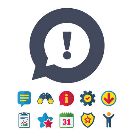 Exclamation mark sign icon. Attention speech bubble symbol. Information, Report and Speech bubble signs. Binoculars, Service and Download, Stars icons. Vector