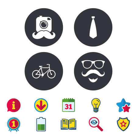 Hipster photo camera. Mustache with beard icon. Glasses and tie symbols. Bicycle family vehicle sign. Calendar, Information and Download signs. Stars, Award and Book icons. Vector Illustration