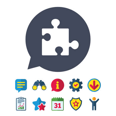conundrum: Puzzle piece sign icon. Strategy symbol. Information, Report and Speech bubble signs. Binoculars, Service and Download, Stars icons. Vector