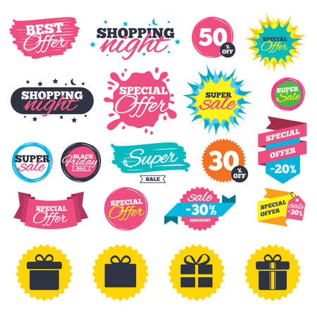 Sale shopping banners. Gift box sign icons. Present with bow and ribbons sign symbols. Web badges, splash and stickers. Best offer. Vector Ilustrace