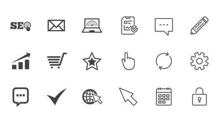 インターネット、seo アイコン。ダニ、オンライン ショッピングとチャートのサイン。帯域幅、モバイル デバイスおよびチャット記号。チャット、報告書、カレンダーの線標識。サービス、鉛筆、ロッカーのアイコン。ベクトル 写真素材 - 83366680
